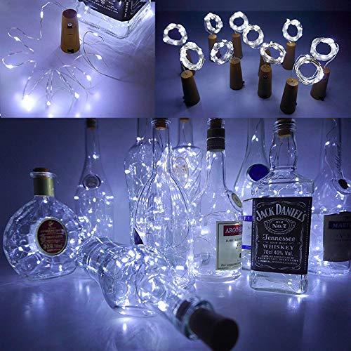 2 Pack LED Bottle Cork Lights with Battery, Wine Bottle Lights 2M/20LEDs Copper Wire String Lights Fit Christmas Bottle…