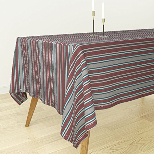 Roostery Tablecloth - Moire Silk Victorian Vintage Stripes Burgundy Watersilk by Peacoquettedesigns - Cotton Sateen Tablecloth 70 x 144