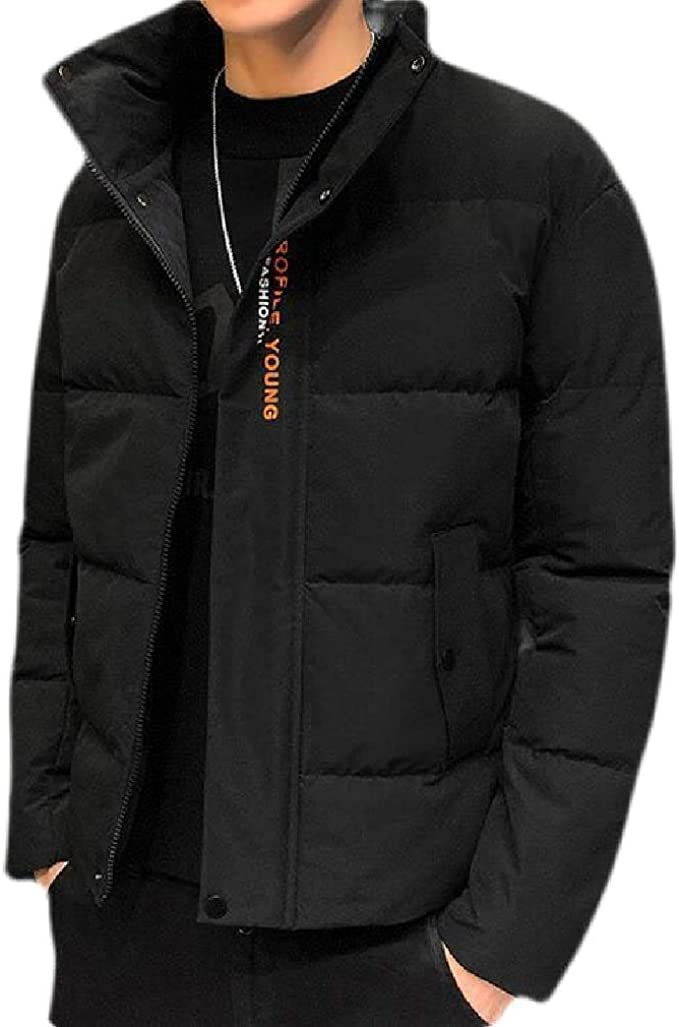 Joe Wenko Mens Casual Stand Collar Puffer Zip Up Cotton-Padded Parkas Coat