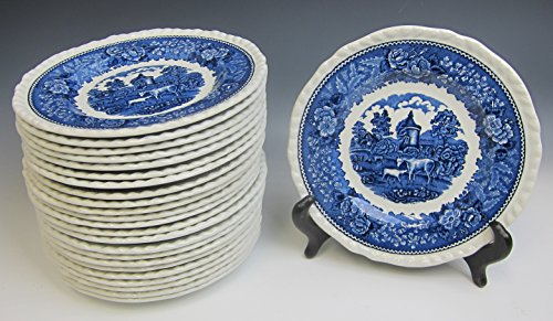 - Lot of 24 Adams China ENGLISH SCENIC BLUE SCALLOPED Dessert/Pie Plate EXCELLENT
