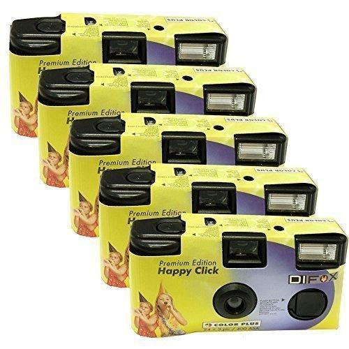 5x PHOTO PORST Einwegkamera / Hochzeitskamera / Partykamera HC gelb (27 Fotos, Blitz, 5-er Pack)