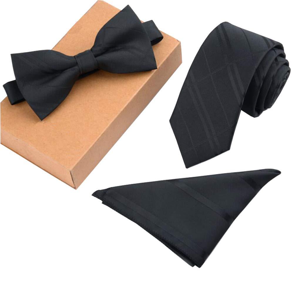 Lanburch Fashionable Premium Formal/Informal Ties Set, Necktie/Bow Tie/Pocket Square for Mens/Boys, Black Strips