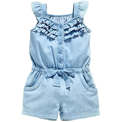 Bleubell Teddlor Girls Denim Romper Ruffle Sleeveless Summer Playsuit 3T by Bleubell
