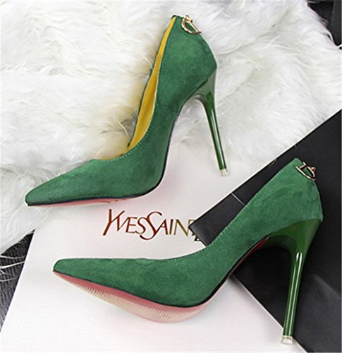Wealsex Women's Ladies High Heeled Pointed Toe Suede Court Shoes D-decoration Pump Stiletto Heel OL Sexy Party Wedding Dress Shoes Green eRnHCRO5r