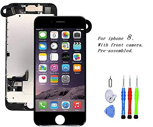 Premium Screen Replacement Compatible with iPhone 8 4.7 inch Full Assembly - LCD 3D Touch Display digitizer with Front Camera, Ear Speaker and Sensors, Compatible with All iPhone 8 4.7(Black) ()