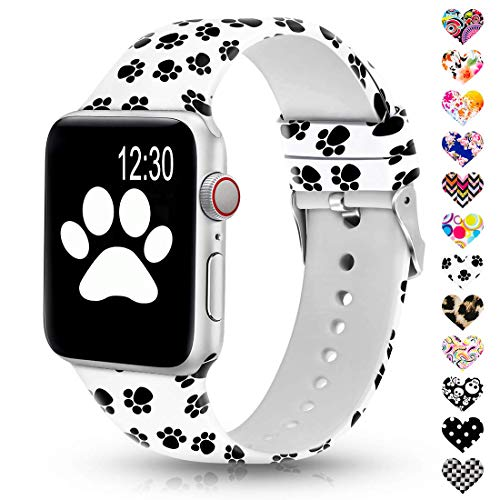 Sunnywoo Floral Bands Compatible with Apple Watch Band 38mm/40mm/42mm/44mm, Soft Silicone Fadeless Pattern Printed Replacement Sport Bands for iWacth Series 4/3/2/1, S/M M/L for Women/Men