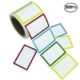 APLANET 500pcs Colorful Name Label Stickers Ordinary Labels, 3.5'' x 2.25'', 4 Colors