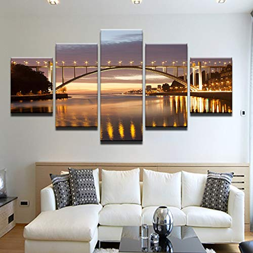 Canvas painting 5 piece Abstract Art Wall Modular 5 Panel Portugal City Painting Night View Picture For Living Room Home Decoration Canvas Prints Poster