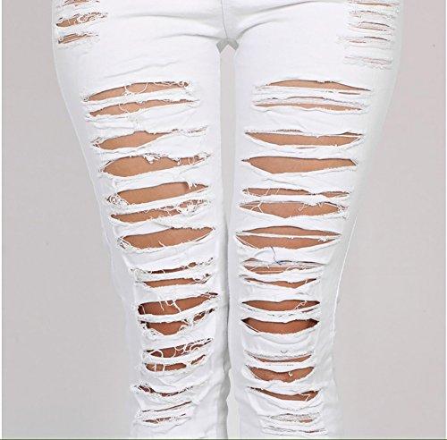 Pantalones Jeans Pantalones Vaqueros Pantalones Rasgados Flacos Cintura Alta para Mujer Blanco