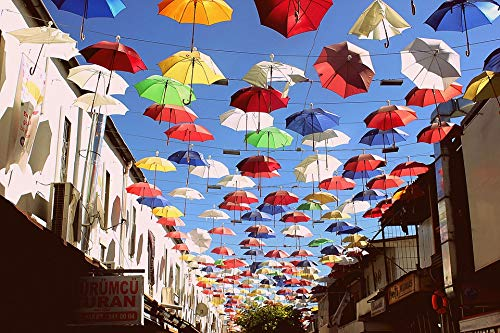 Home Comforts Peel-n-Stick Poster of Celebration Colorful Turkish Umbrella Sky Festival Vivid Imagery Poster 24 x 16 Adhesive Sticker Poster Print
