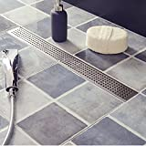 36 Inch Linear Shower Drain Long Shower Floor Drain with Removable Quadrato Pattern Grate for Bathroom, Brushed 304 Stainless Steel with Adjustable Leveling Feet and Hair Strainer