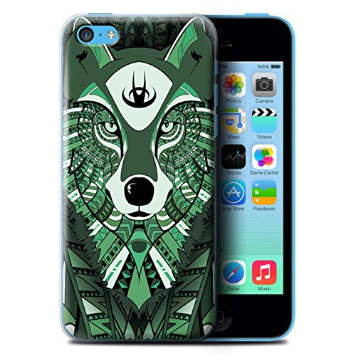 Coque de Stuff4 / Coque pour Apple iPhone 5C / Loup-Vert Design / Motif Animaux Aztec Collection