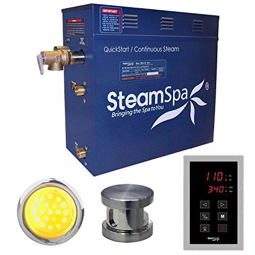 Steam Spa INT900BN Indulgence 9 KW Quick Start Acu-Steam Bath Generator Package, Brushed Nickel Nickel Generator