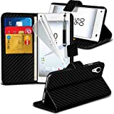 ONX3® Sony Xperia Z5 Case BookStyle PU Leather Wallet Flip With Credit / Debit Card Slot With LCD Screen Protector Guard, Leather Flip Case Credit / Debit Card, S Line Wave Gel Case Skin Cover, Polishing Cloth & Mini Retractable Stylus Pen