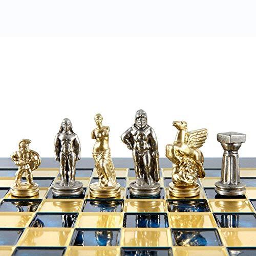 Manopoulos Spartan Warriors Chess Set – Brass&Nickel – Blue Chess Board