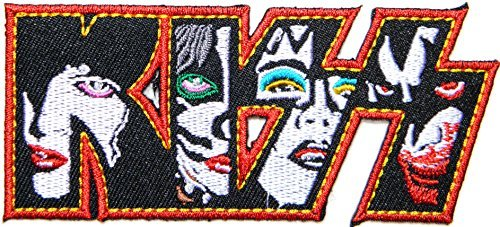 (KISS Logo Skeleton Punk Rock Heavy Metal Music Band Jacket T shirt Patch Sew Iron on Embroidered Symbol Badge Cloth Sign Costume By Prinya Shop)