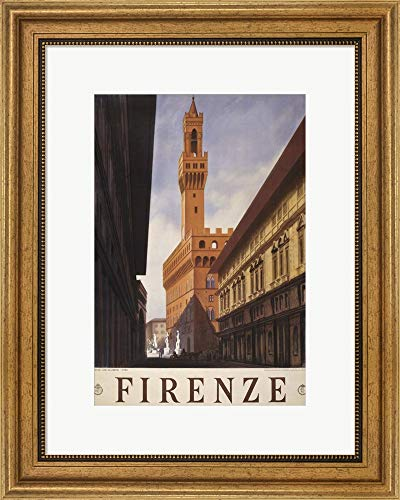 Firenze Gold Wall - Firenze by PI Collection Framed Art Print Wall Picture, Wide Gold Frame, 18 x 22 inches