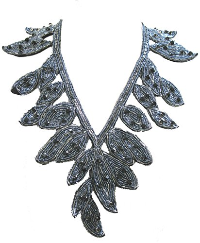 ''Deco'' Beaded Leaf Bib Necklace Soft Fabric Statement Jewelry (Gunmetal) by Steel Paisley (Image #1)
