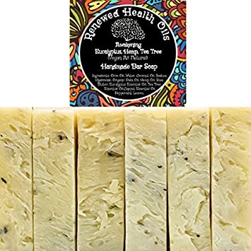 Eucalyptus, Hemp,Tea Tree Handmade Bar Soap Bulk Family Pack All-In-One HAIR BEARD BODY 100 Pure Essential Oils No Synthetic Fragrances Added 6 4.5 oz Vegan