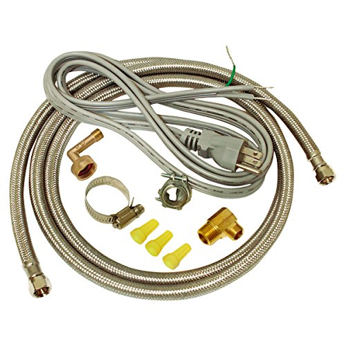 (EZ-FLO 48337 Dishwasher braided stainless steel Installation Kit with 72-in connector & 6 ft. pigtail cord)