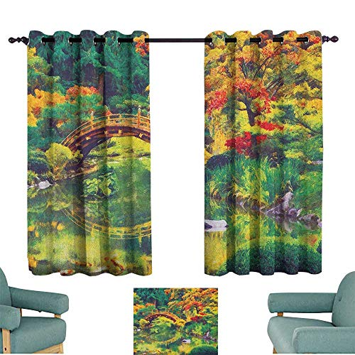 Country,Printed Backout Curtains Fairy Image of a Japanese Garden with an Old Ancient Bridge The Lake Nature Print 42