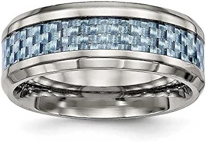 8mm Titanium Polished Blue Carbon Fiber Inlay Ring - Size 9.5
