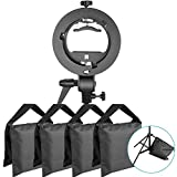 Neewer Photo Studio S-Type Bracket Holder with Bowens Mount and 4-Pack Heavy Duty Photographic Sand Bag for Speedlite Flash Softbox Beauty Dish Light Stands Boom Stand Tripod (Black Empty Sandbag)