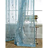 TIYANA Floral Embroidered Sheer Curtain for Backdrop 72 inch Long Romantic Voile Tulle Gauze Drape Rod Pocket Top Embroidery Curtain Panel Tulle Drapery for Living Room 1 Panel Blue Sheer 40x72 inch