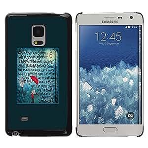 Paccase / SLIM PC / Aliminium Casa Carcasa Funda Case Cover para - Teal Umbrella Love Text Quote - Samsung Galaxy Mega 5.8 9150 9152