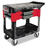 Rubbermaid Commercial Trades Cart, 2-Shelf, 19-1/4w x 38d x 33-3/8h, Black - Includes one each.