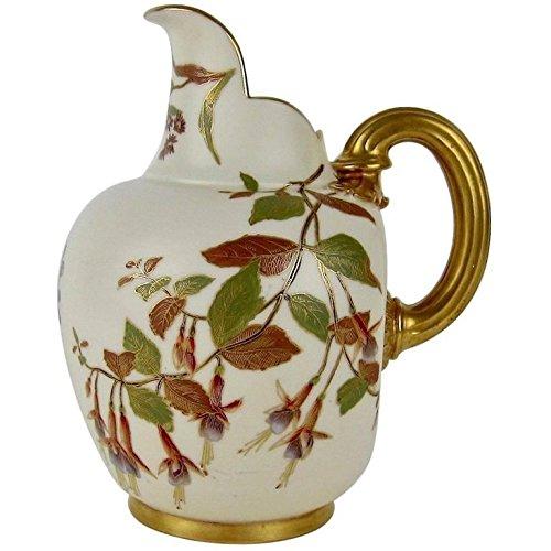 Royal Worcester Antique Porcelain Flat Back Pitcher, 1890