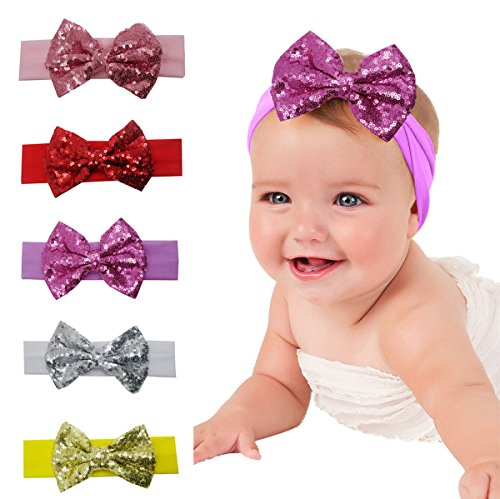 Baby Girl's Turban Headband Head Wrap Knotted Hair Band(Red) - 5