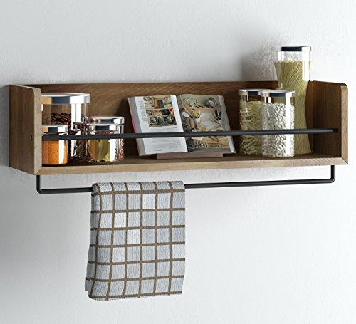 Rustic Kitchen Wood Wall Shelf with Metal Rail Also Multi