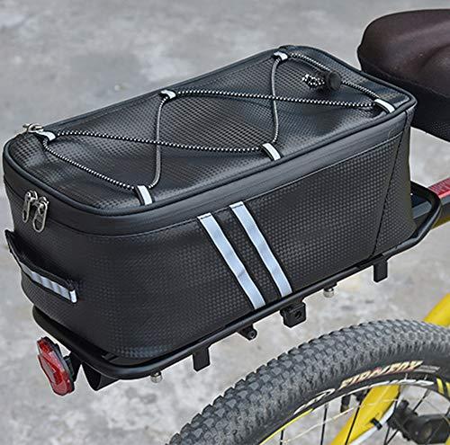 HITECHLIFE Borsa Portapacchi Posteriore per Bici Borsa Da Carico per Sedile Posteriore Da Ciclismo Impermeabile Borsa Da Viaggio con Tracolla per Bici Borsa con Fanale Posteriore Nero//Grigi