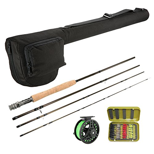 Lixada Lightweight Portable Fishing Rod Reel Combo Kit Set Fishing Starter Package 4-Piece Fly Fishing Rod Pole with Bonus Rod Case