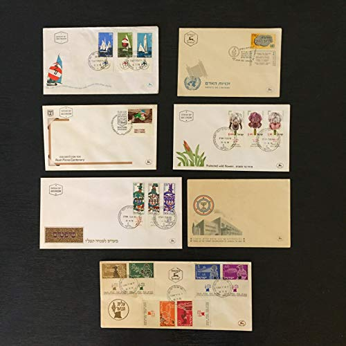 Lot of 7 Israel Covers with Postage Stamps 1955-1982, First Day Issue, Rare Collectible Envelopes ()