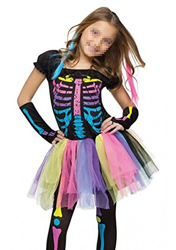 Girls Witch Cosplay Costume Kids Witch Dress Outfits For Halloween Party,Skeleton,Medium
