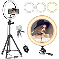 Dimmable 10-Inch LED Ring Light With Tripod Stand White/Black