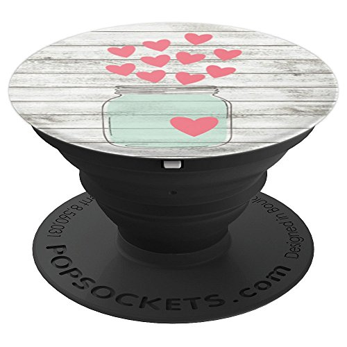 Shiplap Mason Jar With Hearts - PopSockets Grip and Stand for Phones and Tablets