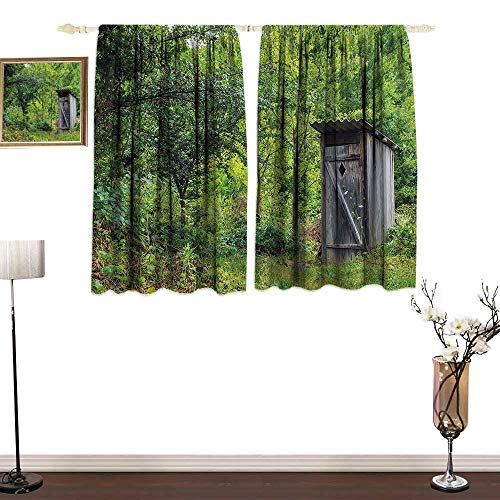 Jinguizi OuthouseCustom curtainOld Ancient Cottage Outhouse in a Spring Mountian Forest Woods ImageBedroom Blackout Curtains W63 xL72 Fern Green and Brown