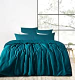 Dreamaker Luxury Soft 100% Washed Cotton Linen Quilt Duvet Cover Bedding Set w/ Pillowcase (Twin, Peacock Blue)
