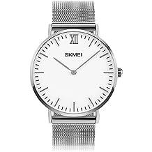 Mens Quartz Watch, Aposon Business Analog Wrist Watch Luxury Stainless Steel Band Cool Waterproof Dress Watches- Silver