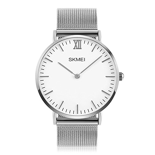 Mens Quartz Watch, Aposon Business Analog Wrist Watch Luxury Stainless Steel Band Cool Waterproof Dress Watches- Silver