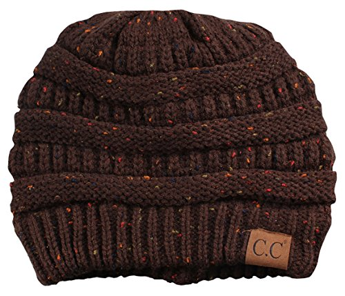 H-6033-07 Funky Junque Confetti Knit Beanie - Brown