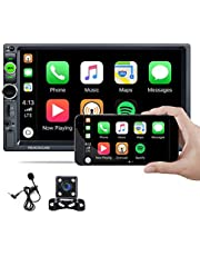 Hikity Car Stereo Double Din D-Play in-Dash Digital Media 2021 New 7 Inch Touchscreen Radio, Bluetooth Audio Hands-Free Call, FM Receiver, Mirror Link, SD AUX USB Input, Wireless Remote Control + Backup Camera & Microphone