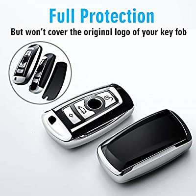 Uxinuo for BMW Key Fob Cover, Full Protection Soft TPU Key Fob Case Compatible with BMW 1 3 4 5 6 7 Series and X3 X4 M5 M6 GT3 GT5 Keyless Smart Rmote, Silver: Automotive