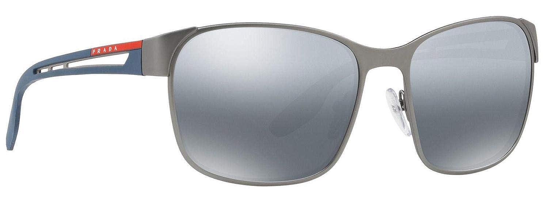1713dc7e10fb8 Amazon.com  Prada PS52TS Sunglasses Gunmetal Rubber w Polarized Grey Mirror  Gradient Silver Lens 59mm DG12F2 SPS52T PS 52TS SPS 52T  Clothing