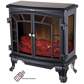 Chimenea eléctrica de diseño clásico con efecto llama y leña decorativa. Cuenta con 2 posiciones