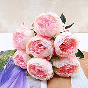 Kstare 7 Heads Artificial Peony Silk Flowers Bouquet for Decoration High Grade Wedding Home Place 39