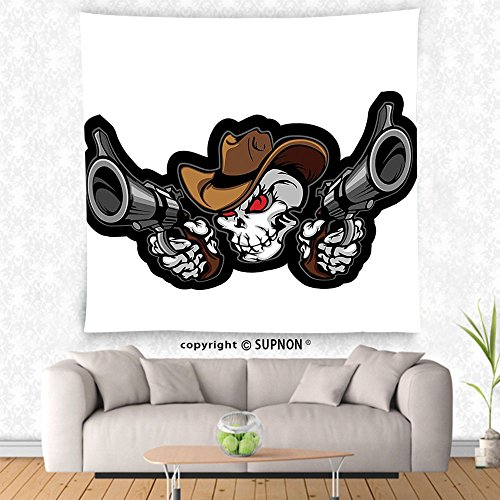 VROSELV custom tapestry Skulls Decorations Tapestry Wall Hanging Skull Cowboy Targets Shooting with the Guns Wild West Scary Illustration Art Bedroom Living Room Dorm Decor Brown White - Target Boston Street